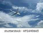 airplane against blue sky... | Shutterstock . vector #691640665