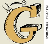 grotesque abc  scribble letter g