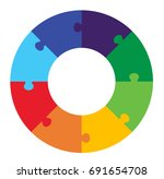 eight part puzzle graphic | Shutterstock .eps vector #691654708