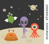 cute alien character on planet... | Shutterstock .eps vector #691664662