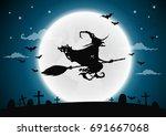 halloween night background with ... | Shutterstock .eps vector #691667068