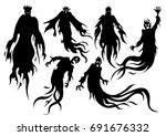 silhouette of flying evil... | Shutterstock .eps vector #691676332