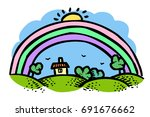 cartoon image of rainbow icon....