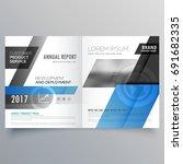 blue business bifold brochure... | Shutterstock .eps vector #691682335