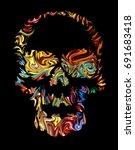 skull art day of the dead. hand ... | Shutterstock . vector #691683418