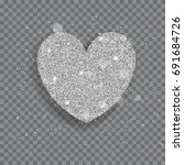 big shiny heart made of silver... | Shutterstock .eps vector #691684726
