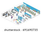 isometric interior shopping... | Shutterstock .eps vector #691690735