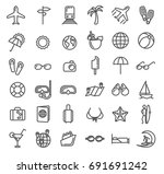 summer vacation outline icons.... | Shutterstock . vector #691691242