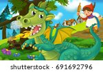 cartoon background of a dragon... | Shutterstock . vector #691692796