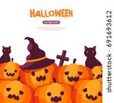 halloween pumpkins in witch hat ...   Shutterstock .eps vector #691693612