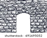 stone wall with arched door... | Shutterstock .eps vector #691695052