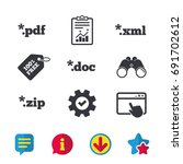 document icons. file extensions ... | Shutterstock .eps vector #691702612