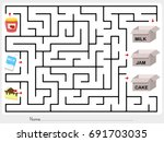 maze game  pick jam  milk and... | Shutterstock .eps vector #691703035