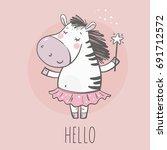 cute little zebra princess | Shutterstock .eps vector #691712572