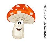 cute cartoon smiling mushroom.... | Shutterstock .eps vector #691712602