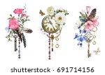 Stock photo set watercolor illustration with roses and wildflowers keys clock and feathers tribal 691714156