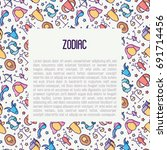 zodiac signs concept with thin... | Shutterstock .eps vector #691714456