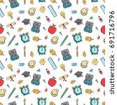 seamless pattern of cute school ... | Shutterstock .eps vector #691716796