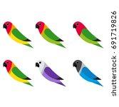 flat lovebird on white... | Shutterstock .eps vector #691719826