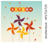 hello autumn background with...   Shutterstock .eps vector #691721725