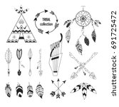 tribal collection of hand drawn ... | Shutterstock .eps vector #691725472