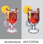 mulled wine. black and white... | Shutterstock .eps vector #691725556