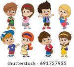 back to school. cute kids... | Shutterstock .eps vector #691727935