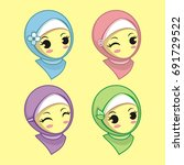 cute hijab girl vector | Shutterstock .eps vector #691729522