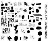 set of black blemishes  brushes ... | Shutterstock .eps vector #691734052