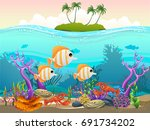 undersea with island. vector... | Shutterstock .eps vector #691734202