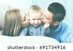 portrait of cheerful happy... | Shutterstock . vector #691734916