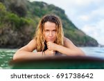 happy girl in bikini have fun... | Shutterstock . vector #691738642
