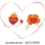 hearts with a ribbon in the... | Shutterstock . vector #69173950