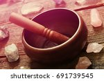 tibetan singing bowl with stick ... | Shutterstock . vector #691739545