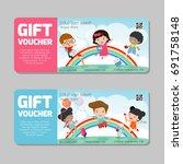 gift voucher template with... | Shutterstock .eps vector #691758148