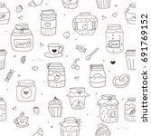set of doodle sketch hand drawn ... | Shutterstock .eps vector #691769152