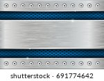 metal texture with brushed iron ... | Shutterstock .eps vector #691774642
