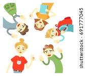 vector illustration of friends... | Shutterstock .eps vector #691777045
