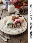 sweet pieces of turkish delight ...   Shutterstock . vector #691778728