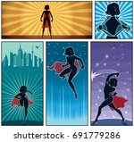 set of 5 super heroine banners.  | Shutterstock .eps vector #691779286