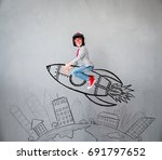 portrait of young child pretend ... | Shutterstock . vector #691797652