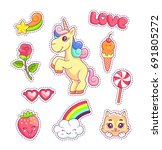 stickers set pop art style with ... | Shutterstock .eps vector #691805272