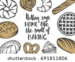 set of vector bakery elements... | Shutterstock .eps vector #691811806