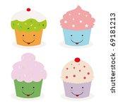 Set Of Four Kawaii Cupcakes