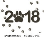 inscription 2018 with a dogs... | Shutterstock .eps vector #691812448