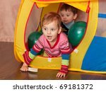 two toddlers are playing inside ... | Shutterstock . vector #69181372
