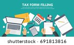 tax payment. government  state... | Shutterstock .eps vector #691813816