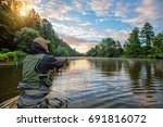 sport fisherman hunting... | Shutterstock . vector #691816072