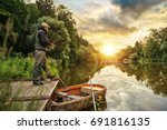 sport fisherman hunting... | Shutterstock . vector #691816135