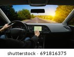 man hand using gps navigation... | Shutterstock . vector #691816375